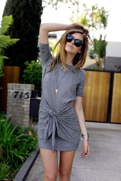 gray t-shirt dress