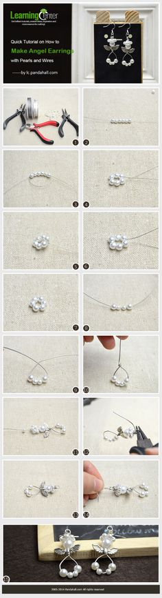 Quick Tutorial on How to Make Angel Earrings with Pearls and Wires
