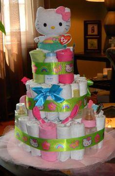 Hello Kitty themed baby girl diaper cake