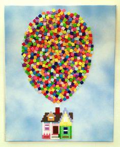Up Pixar movie perler art on canvas by kylemccoy