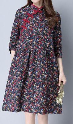 Women loose fit plate buckle ethnic flower dress pocket tunic fashion trendy