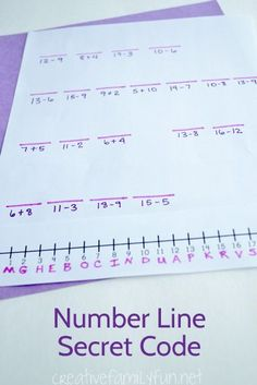 Creative Family Fun: Number Line Secret Code