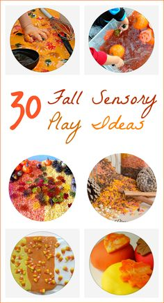 30 fun fall/autumn themes sensory play ideas for kids. Sensory rice, sensory goop, slimes, play doughs, cloud dough, water play ALL with a big Fall theme.