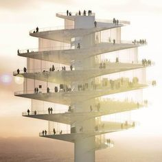 This square foot observation tower will be a new addition to the skyline of the city of Phoenix, Arizona, USA. Designed by BIG Architects with local developer Novawest, the observation tower will be located in downtown Phoenix. Phoenix Arizona, Amazing Architecture, Interior Architecture, Futuristic Architecture, Interior Design, Building Architecture, Commercial Architecture, Chinese Architecture, Classical Architecture