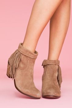 Sam Edelman  Louie Fringe Booties - Tan  $160.00