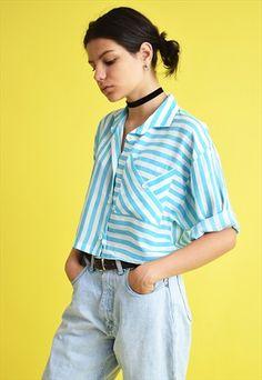 80's+Mod+Boho+festival+striped+marinistic+crop+top+shirt
