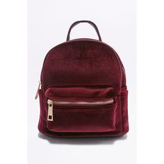 Velvet Mini Backpack (£26) ❤ liked on Polyvore featuring bags, backpacks, accessories, maroon, miniature backpack, backpack bags, red bag, red top handle bag and top handle bags