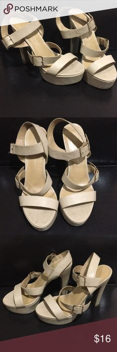 """Nude heels Worn several times. Nude Lauren Conrad heels. Gold adjustable straps. Easy to wipe off. For more information about my closet please visit my """"meet the posher"""" post.💋🦋💐☀️ LC Lauren Conrad Shoes Heels"""