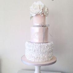 ruffles & roses wedding cake in ivory and blush