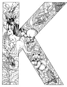 animal alphabet letter k coloring pages printable and coloring book to print for free. Find more coloring pages online for kids and adults of animal alphabet letter k coloring pages to print. Coloring Letters, Alphabet Coloring Pages, Animal Coloring Pages, Free Printable Coloring Pages, Coloring Book Pages, Coloring Pages For Kids, Free Coloring, Kids Coloring, Online Coloring