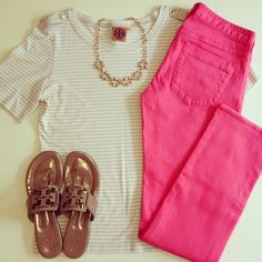 Pink, stripes, and Tory Burch