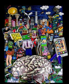 """""""Mind Your Technology"""" - mixed media pop art by Charles Fazzino. 33.5""""x48"""""""