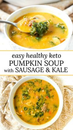 This delicious creamy keto pumpkin soup gets it's creaminess from a cauliflower cream and pumpkin. The savory sausage and kale make for a delicious, low carb comforting soup. Only 5.7g net carb per serving!