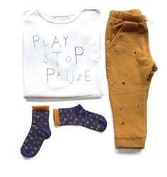 PLAY STOP PLAY, we had to have this T-shirt and pants from the Dutch brand Little Indians! To sell in our shop PLAY by rewind ;-)