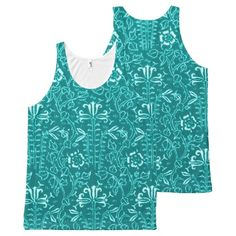 Vintage Floral Lapis Turquoise Teal All-Over Print Tank Top Tank Tops