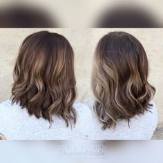 Brown and blonde balayage lob haircut and color