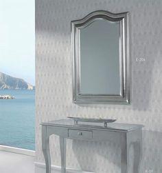 espejo clásico en plata, espejos plateados, espejos decorativos en plata, espejos para recibidores en plata.