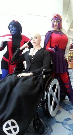 Genderbend of Professor X cosplayed by Selenity, flanked by two friends as female versions of Nightcrawler and Magneto #Rule63 #cosplay
