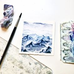 Mountains landscape Watercolor painting ❄️