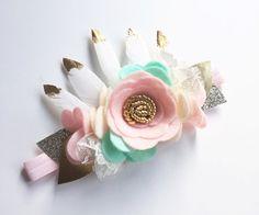 Flower Crown  Feather Crown  Baby Flower Crown  by SweetMimiStudio