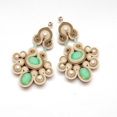 Chandelier pacific opal earrings soutache beige cream. Chanderlier pearls…