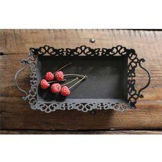 Creative Co-op Decorative Metal Tray w/ Handles - Rustic Black $18.95