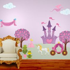 Princess Wall Sticker Kit for Girls Room - FREE PERSONALIZATION