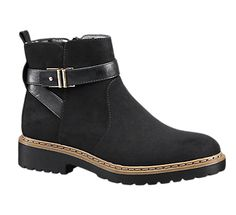 Ladies' black ankle boots with strap | Deichmann