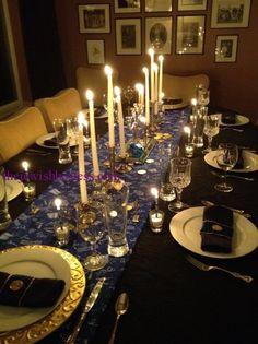 hanukkah table setting, hanukkah table idea,  Adapt the idea of the cloth napkin wrapper.