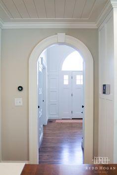 REDD HOGAN DESIGN BUILD | Holladay::Main Floor Remodel  Arched doorway, keystone, ceiling trim, balboa mist, benjamin moore, butcher block, caesarstone, trim, door casing