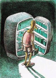 """Con la ola de calor de estos días lo mejor es tener los """"libros a la fresca"""" (ilustración de Saeed Sadeghi_ vía http://bibliolectors.tumblr.com/ )"""