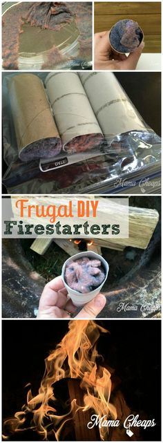 Frugal DIY Firestarters Camping Hack - use lint and an empty toilet paper roll to light your next campfire! More great camping tips and tricks on http://MamaCheaps.com!