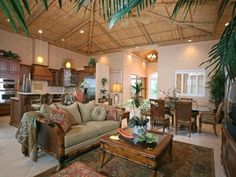 Tropical Living Room (this may not be a mobile home, but, I thought the bamboo ceiling would look good on slanted ceiling.