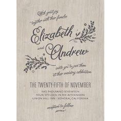 Rustic Chic Wedding Invitations by Emily Crawford | Elli