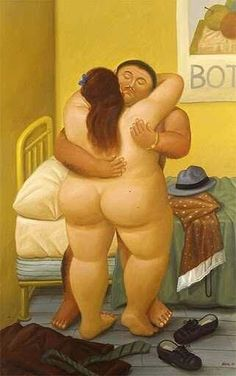 Fernando Botero - naked bedroom couple