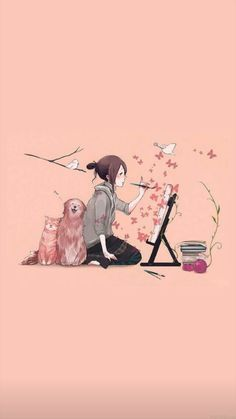 Cartoon Kunst, Cartoon Art, Cartoon Girls, Cartoon Wallpaper, Wallpaper Desktop, Wallpaper Backgrounds, Pink Wallpaper Anime, Drawing Wallpaper, Trendy Wallpaper