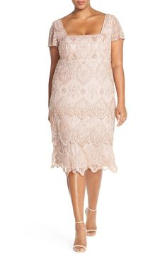 Pisarro Nights 'Lace Tiers' Embellished Cocktail Sheath Dress (Plus Size) available at #Nordstrom