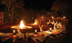 We also have boma-dinners under the African sky Game Reserve, Dinners, African, Sky, Table Decorations, Photos, Furniture, Home Decor, Dinner Parties