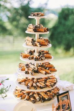 Scoop up cannoli from your fave local bakery for a delicious treat tower on your wedding day.