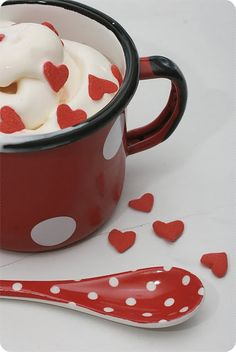 Soft serve ice cream - with red hearts - serve in red/white polka dot mug + spoon