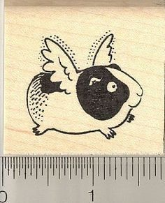 Flying Guinea Pig Rubber Stamp E9613  Wood by Rubberhedgehog, $8.00
