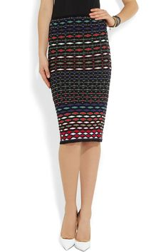 M Missoni | Textured-knit cotton-blend pencil skirt | NET-A-PORTER.COM