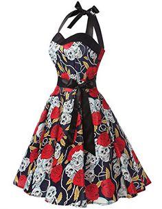 Amazon.com: DRESSTELLS Vintage 1950s Rockabilly Polka Dots Audrey Dress Retro Cocktail Dress: Clothing