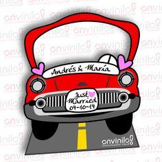Photocall boda silueta coche Onvinilo