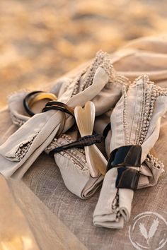 Taupe Nappery and collection of napkin rings www.frenchcountry.co.nz