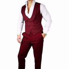S by Sebastian Burgundy Double Breasted Waistcoat. Convert any of our looks into a 3 piece look. #sebastiancruzcouture