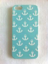 Aqua Blue Background with White Anchor Printing iPhone 5 Case