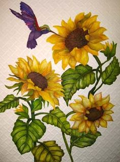 """""""A Taste of Sunshine,"""" Deb Crine, Marco Island, Florida Applique Patterns, Applique Quilts, Quilt Patterns, Sunflower Quilts, Sunflower Art, Painted Rocks Kids, Painted Stones, Longarm Quilting, Quilting Board"""