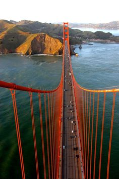 Photo by a daredevil anonymous photographer, taken from the top of the Golden Gate Bridge