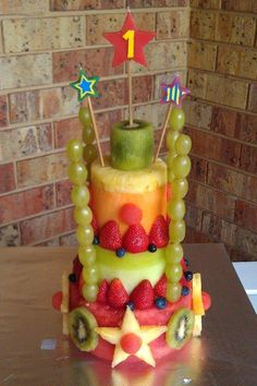 Finley's 1st Birthday fruit cake. Watermelon, honeydew, rock melon, pineapple - the works!